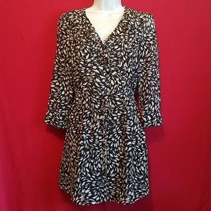 H&M 3/4 Sleeves Mini Dress Blue Size 4 Lined